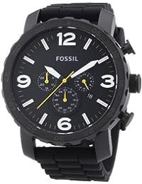 Fossil JR1425 - Reloj cronógrafo de cuarzo para hombre, correa de silicona color negro (cronómetro)
