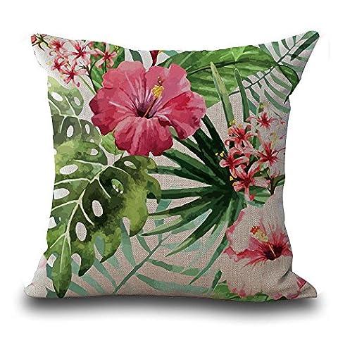 Rawdah Baomabao Couvre-lit Taie d'oreiller vintage Fleur Feuilles Housse de coussin Home Deco, Mélange lin, b, Size:45cm