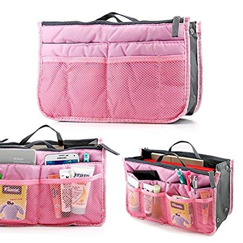 Panzl Women Multipocket Handbag Organizer, Travel Handbag Makeup Cosmetic Organizer Handbag (Color May Vary)