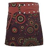 PUREWONDER Damen Wickelrock aus Baumwolle mit Knöpfen sk112 Braun Einheitsgröße verstellbar