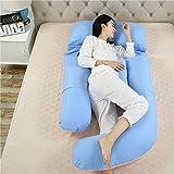 SYT Travel pillow U-Förmige Schwangerschaft Schlafkissen Mutterschaft Körperkissen Frauen Schwangere Seitenschläfer Kissen, 180x110x75cm, Blaues Pulver