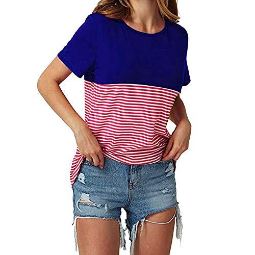 MORETIME Femme Blouse T-Shirt à Manches Courtes à Rayures Multicolores pour Femmes Haut rayé à Manches Courtes pour Femmes Plusieurs Couleurs, Plusieurs Tailles