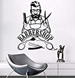 Xbwy Wall Sticker Barber Shop Sign Wall Decal Removable Hipster Vinyl Stickers Beauty Salon Window Sticker Barbershop Decor 42X51Cm