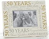 Fotorahmen zum 50. Hochzeitstag, Aufschrift'Golden Wedding 50th Anniversary', 15 x 10 cm