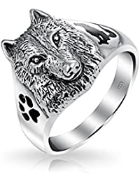 Bling Jewelry Sterling Silver Wolf Cabeza negra Huella Animal aullando silueta Anillo