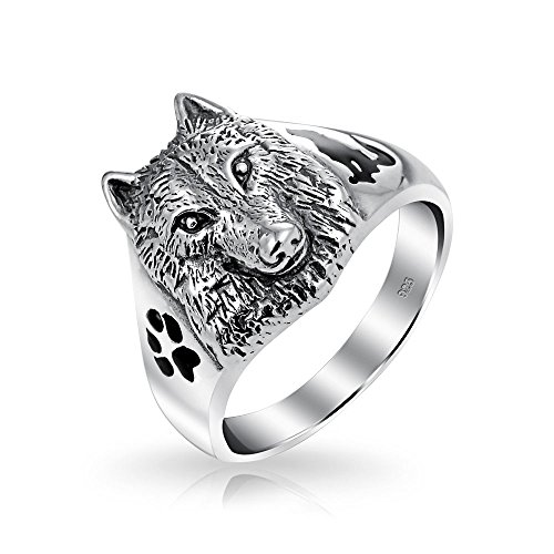 Bling Jewelry Sterling Silver Wolf Cabeza negra Huella Animal esmalte anillo