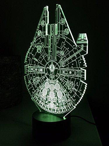 Star Wars Light Gifts 2018 Touch 'button' Version Millennium Falcon USB LED Night Light Desk Bedside Lamp Includes Unique Post Card, A5 Print & Vinyl Sticker, 8 Colour Modes, Perfect Christmas Present