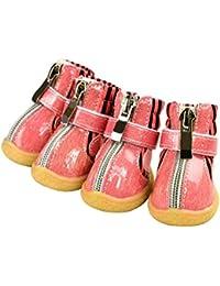 Feidaeu Zapatos para Perros Mascotas 4 Piezas/Juego PU Cuero Botines Impermeables Calcetines Antideslizantes Calzado