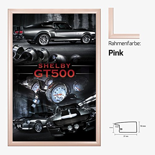 Kunstdruck Poster - Ford Mustang Shelby GT 500 V8 Muscle Car USA 61 x 91,50 cm mit MDF-Bilderrahmen Pisa & Acrylglas reflexfrei, viele Farben zur Auswahl, hier Pink (Ford Pink Mustang)