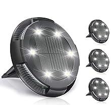TBoonor Luci Solari da Giardino 4 Pezzi Luce Giardino con 10 LEDs IP65 Impermeabili Luce Sepolta Solare Giardino per Terreno Esterno/Scala/Paesaggio/Strade/Prato/Vialetto - Bianco