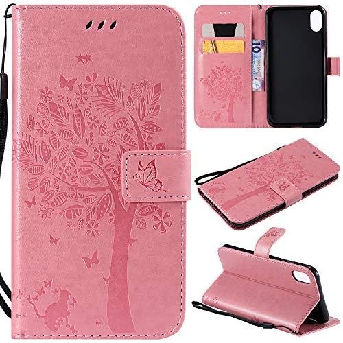 Artfeel Flip Brieftasche Hülle für iPhone Xr, iPhone Xr PU Leder Rosa Hülle Geprägt Baum Schmetterling Blume Muster,Bookstyle mit Kartenfächer Magnetisch Stand Handyhülle -