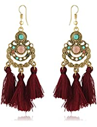 Spargz Lovely Color Beads Maroon Woolen Long Tassels Dangle Earrings For Women AIER 908