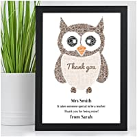 Personalised Wise Owl Teacher Thank You Gifts Leaving School Print Gift Present - Thank You Gifts for Teachers, Teaching Assistants, TA, Nursery Teachers - ANY RECIPIENT from ANY NAME - A5, A4, A3 Prints and Frames - FREE Personalisation