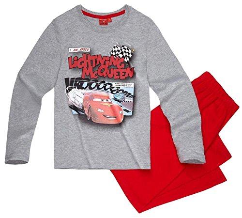 Cars Disney 3 Kollektion 2017 Schlafanzug 92 98 104 110 116 122 128 Jungen Pyjama Lang Lightning McQueen Grau-Rot (122-128, Grau-Rot)