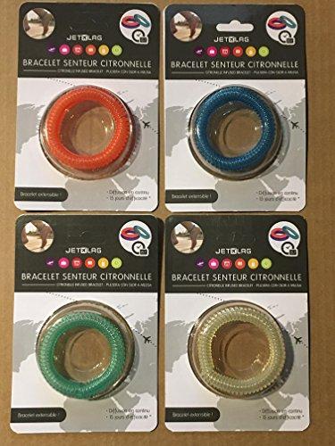 Lot de quatre bracelets extensibles répulsifs anti moustique à la citronnelle - génial pour les enfants comme pour les adultes