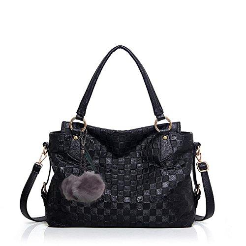PDFGO Tote Bag Handtaschen Europa Und Die Vereinigten Staaten Mode Gitter Geprägt Tasche Schultertasche Handtasche Handtasche B