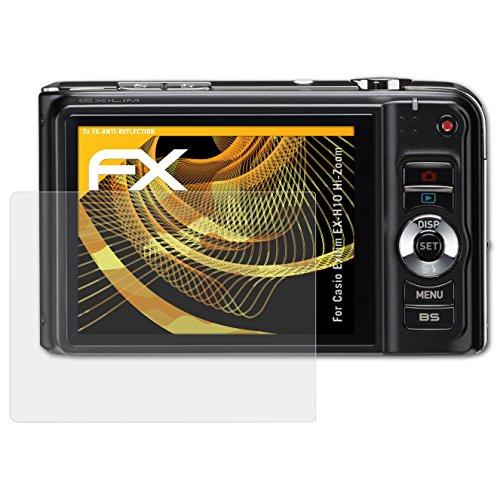 Casio Exilim Zoom (Casio Exilim EX-H10 Hi-Zoom Displayschutzfolie - 3 x atFoliX FX-Antireflex blendfreie Folie Schutzfolie)