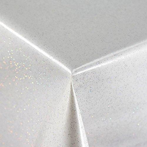 Uni weiß PVC mit Glitzer Vinyl Tischdecke Abwischbar Displayschutzfolie Bezug in Breite 140cm-Meterware -