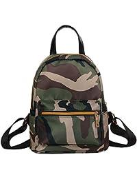 Becoler Solid Zipper Backpack School Bag Fashion Shoulder Bag For Women Teenage Girls Boys (Camouflage)