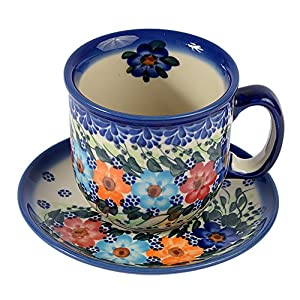 Traditional Polish Pottery, Handcrafted Ceramic Coffee Cup and Saucer 275ml, Boleslawiec Style Pattern, F.201.Garland