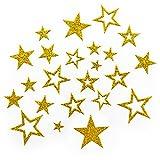Oblique Unique Sternen Sticker in Gold oder Silber - Glitzernde Funkelnde Sterne (Gold)