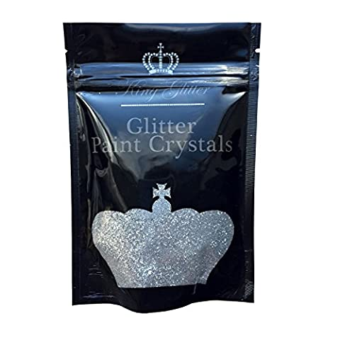 Glitter Paint Crystals (Silver) No1 BEST SELLER-By King Glitter-Easy Application Glitter Paint Crystal Additive For Emulsion Paint 110g - Amazing Eye-Catching Accent For Interior/Exterior Walls &
