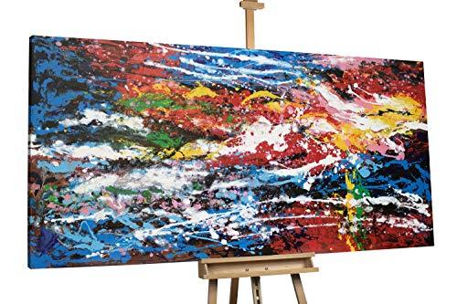 'Parrot's Paradise' 200x100cm | Abstrakt Lila Rot Paradies XXL | Modernes Kunst Ölbild