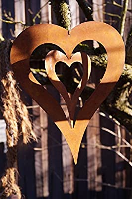 Edelrost Herz mit Innenherz 24,5cm zum Aufhängen Windspiel Gartendekoration Metall Rost von Dewoga auf Du und dein Garten