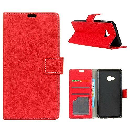 """MOONCASE HTC U Play Flip Case, Card Slot Holster Brieftasche Dauerhaft TPU Stoßfest Ständer Schutzhülle Handy Cover für HTC U Play 5.2"""" Rot"""