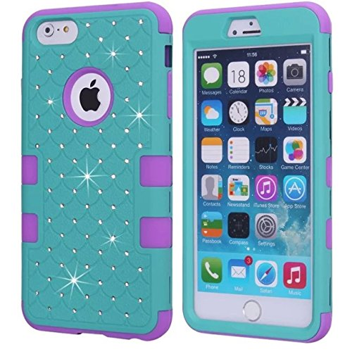 iPhone 6S Fall, iPhone 6 Bling Fall, Lantier [weich hart Tough Case] Designer Kristallbling Hybrid-Rüstungs-Kasten-Abdeckung für iPhone 6, iPhone 6S 4,7-Zoll-Hot Pink + Blau Crystal Bling Purple+Blue