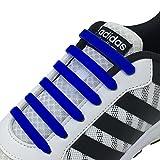 Newkeen No Tie Lacets pour Les Enfants et Adultes, imperméables Silicon Flat élastiques Lacets de Sport Course de Chaussures pour Shoes Sneaker Conseil Bottes et Souliers (Dark Blue)