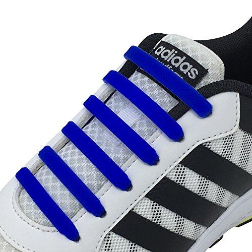 Newkeen Tie Shoelaces for Kids and Adults- silicone elastico piatto Laces Athletic scarpa da corsa con multicolore per Scarpe Sneakerboots bordo e scarpe casual (Dark Blue)