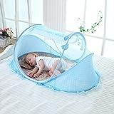 Unbekannt Pro Baby 4Moskitonetz Zelt Set mit Matte, Kissen & Musik Anhänger Faltbar und tragbar Baldachin für Bett Kinderbett, blau, Einheitsgröße