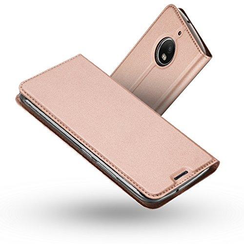 Moto G5S Plus Hülle,Moto G5S Plus Lederhülle,Radoo® Premium PU Leder Handyhülle [Ultra Slim][Kabelloses Aufladen Unterstützung] Brieftasche-stil Magnetisch Folio Flip Klapphülle [Transparenter TPU Stoßfänger] Etui Brieftasche Hülle [Karte Halterung] Schutzhülle Tasche Case Cover für Motorola Lenovo Moto G5S Plus (2017) (Rose gold) (- Leder Klappe-karte)