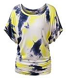 DJT Damen Rundhals Kurzarm T-Shirt Fledermaus Batwing Sommer Stretch Tunika Tie-Dye Gelb S