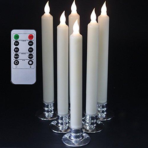 25,4CM Conjunto de 6 Control remoto y temporizador LED de la forma cónica con velas Candelabro