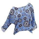 OSYARD Damen Oberseiten,Pullover,Sweatshirt, Frauen Tunika Hemd Oberteile Große Größe Blumendruck Pulli Kleidung Freizeit Langarm Rundhals T-Shirt Top Bluse(3XL, Blau)
