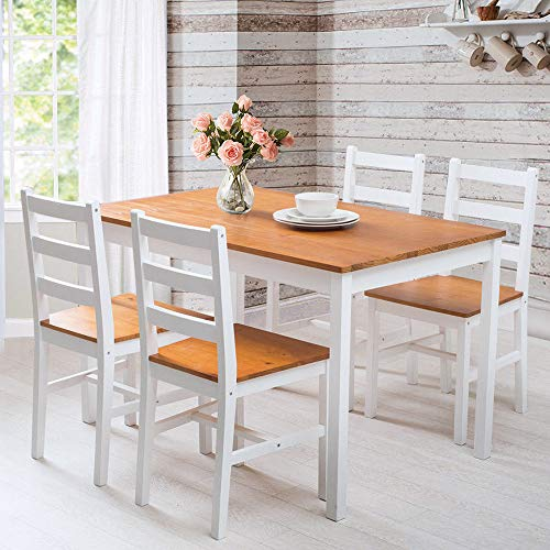 LIFE CARVER Table and Chairs Set 4 Dining Room Solid Pine Large Size 118 * 75.5 * 73 cm Kitchen Furniture (Honey-White)