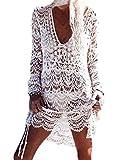 Yuson Girl Verano Pareo Playa Mujer Cuello Halter Elegante Traje Ropa De Baño Suelto Manga Larga Vestido Floral Playa Pareo Transparente Crochet Cardigan Verano Capas Casual Tallas Grandes (V-Neck)