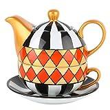 Artvigor, Théière 3 en 1 de 400 ML Service à Thé en Porcelaine, avec Tasse et Soucoupe, Peinte à la Main, Décoration de Table...