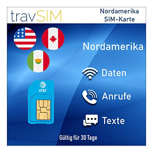 travSIM AT&T Prepaid Nordamerika SIM-Karte (Vereinigte Staaten, Kanada & Mexiko) - UNBEGRENZT* 4G LTE-Daten, Lokale Sprachanrufe & Textnachrichten Gültig für 30 Tage (Prepaid-android-handys Verizon Von)