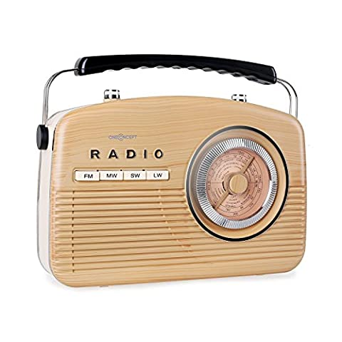 oneConcept NR-12 Retro Radio • 50s Portable Radio• AM/FM • Classic Rockabilly • Possible Battery Operation • Fully Mobile with Carrying Handle • Beach Vintage • 4-Band Radio • Round Frequency Display • Ergonomic Handle & Easy to Transport • Beige