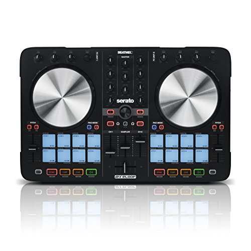 Reloop Beatmix 2 MK2 - 2-Deck USB Performance Pad DJ Controller - 16 Multi-Colour Drum Pads mit Jogwheels und integrierter Soundkarte, Plug and play für Serato DJ, MIDI kompatibel, USB Bus Powered, (schwarz) (Pad Scratch Dj)