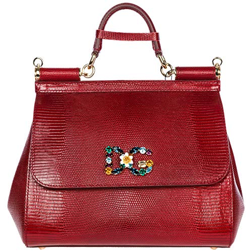Dolce & Gabbana Leder Handtasche Damen Tasche Bag sicily Rot