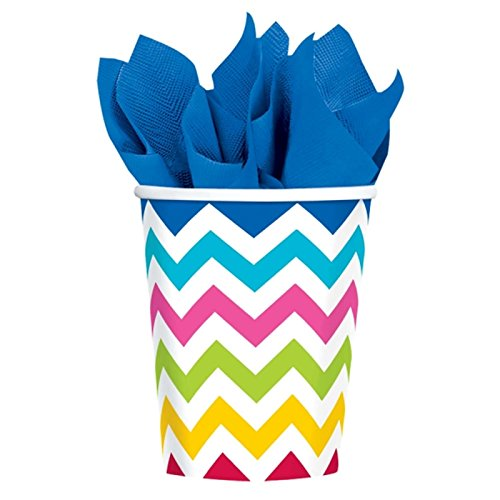 amscan-international-581492-90-266-ml-rainbow-chevron-paper-cup