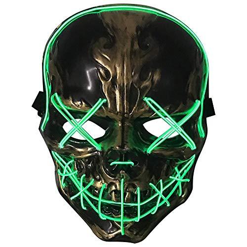 Ganmaov Maske Halloween LED Cosplay Horror Maske Ghost LED Leuchtende Maske Bar Nachtclub Kaltlicht Maske Scary Maske für Halloween Rave Kostüm Party Music Festival - Langsam Moderne Kostüm
