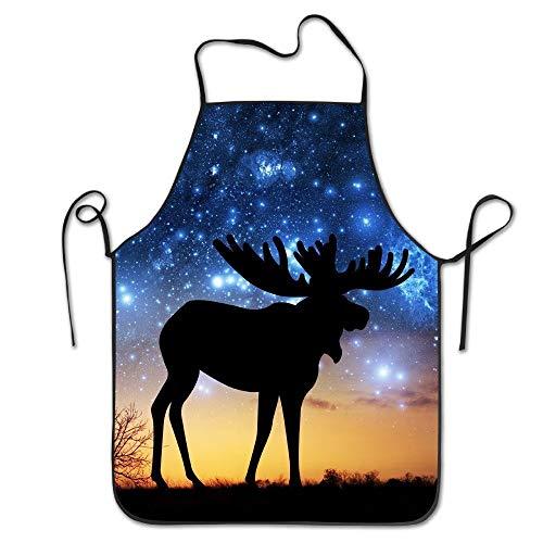Ruajlt Universe Galaxy Moose Adjustable Bib Apron Adult Home Kitchen Apron Chef Apron for Men And Women