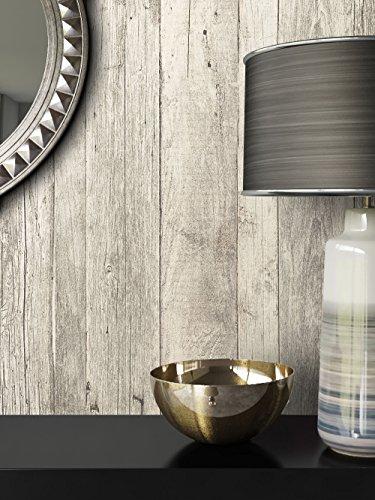 Tapete Vlies Antik Holz Muster in Weiß Grau   schöne edle Tapete im Antikholz Design   moderne 3D Optik für Wohnzimmer, Schlafzimmer oder Küche inkl. Newroom-Tapezier-Profibroschüre mit super Tipps!