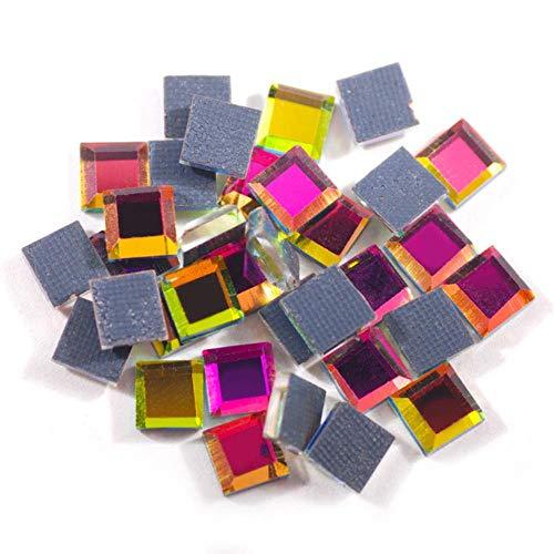 Fix Kostüm Easy - PENVEAT 200pcs Bunte Spiegel Quadrat 5x5mm super helle Glaskristall-Hot-Fix Strass Eisen Verwendung Auf Stoff Garment DIY, Regenbogen 200pcs