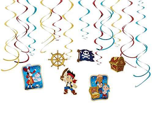 Diseny Jake and the Neverland Pirates Party Foil Hanging Swirl Decorations / Spiral Ornaments (12 PCS)- Party Supply, Party Decorations by Disney (Jake Y Los Piratas Party Supplies)
